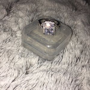 White Sapphire Sterling Silver Ring